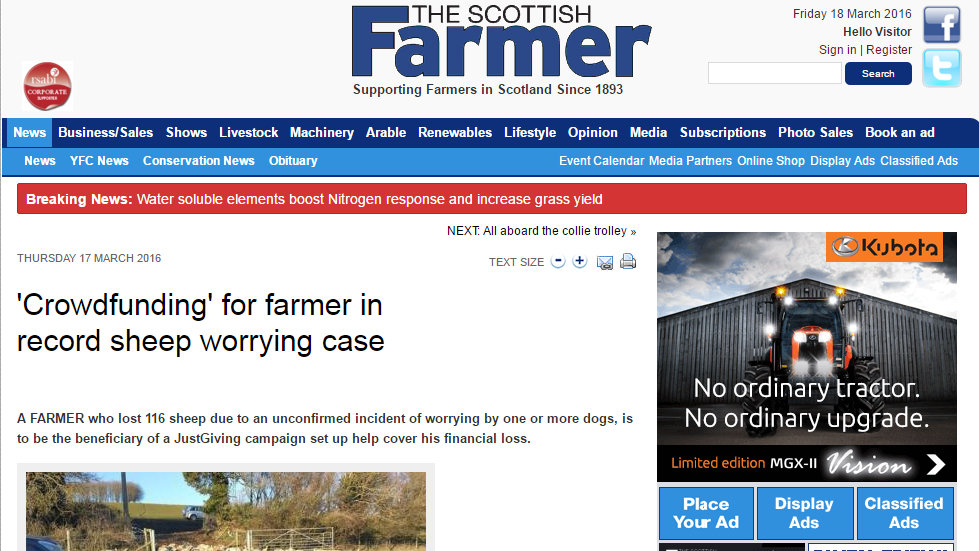 'Crowdfunding' for farmer in record sheep worrying case