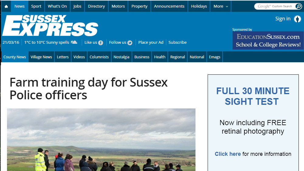 Farm training day for Sussex Police officers