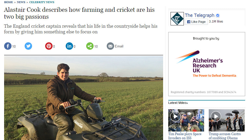 Alastair Cook describes how farming and cricket are his two big passions