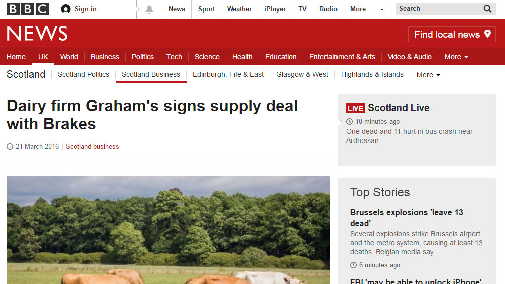 Dairy firm Graham's signs supply deal with Brakes