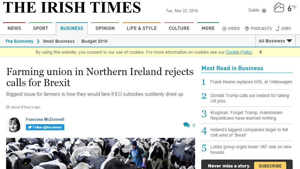 Farming union in Northern Ireland rejects calls for Brexit