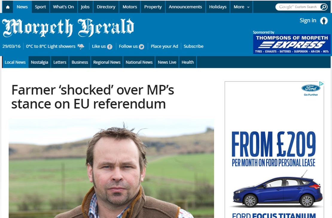 Farmer 'shocked' over MP's stance on EU referendum