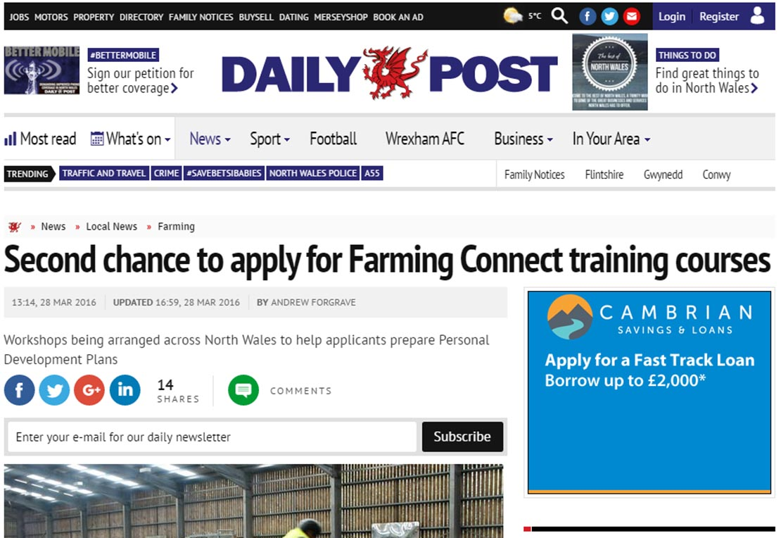 Second chance to apply for Farming Connect training courses