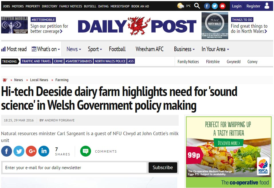 Hi-tech Deeside dairy farm highlights need for 'sound science' in Welsh Government policy making