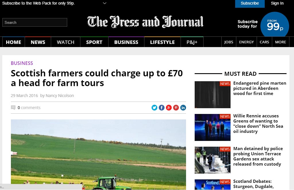 Scottish farmers could charge up to £70 a head for farm tours