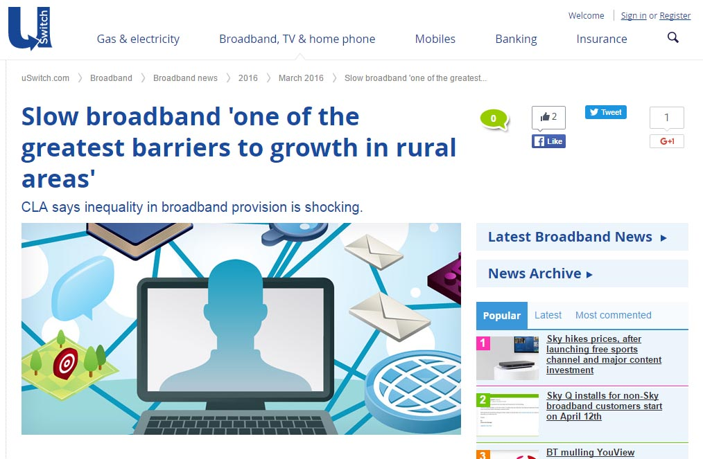 Slow broadband 'one of the greatest barriers to growth in rural areas'