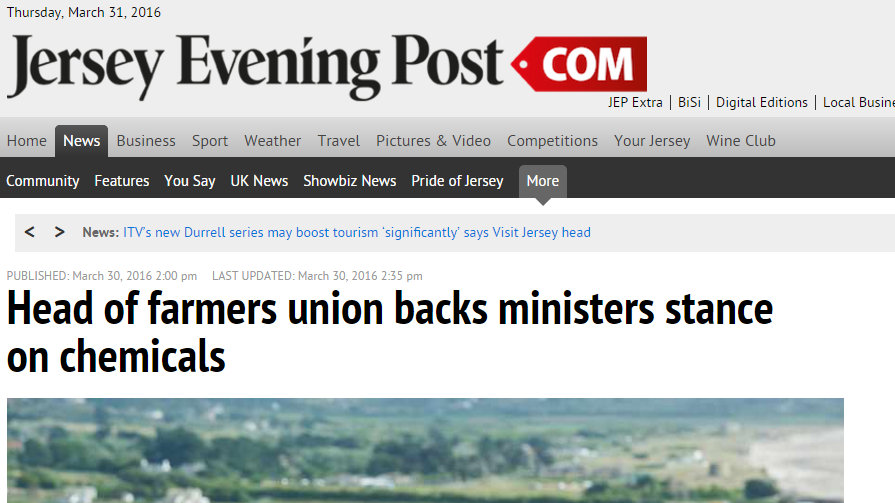Head of farmers union backs ministers stance on chemicals