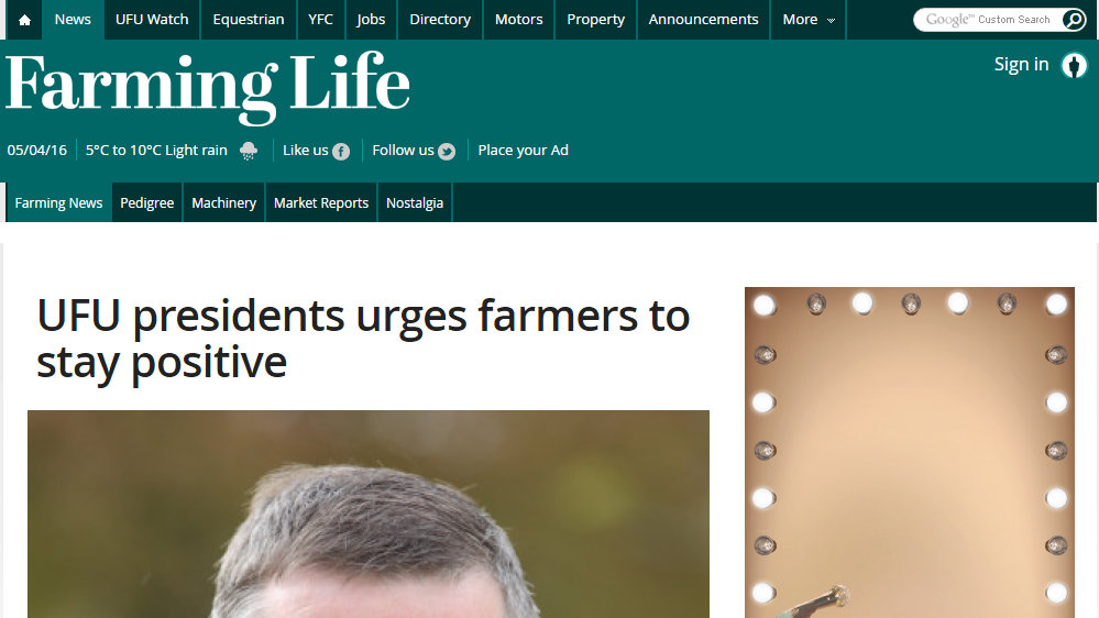 UFU presidents urges farmers to stay positive