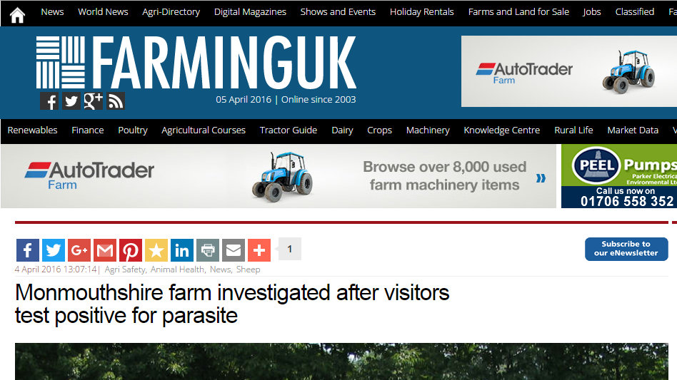 Monmouthshire farm investigated after visitors test positive for parasite