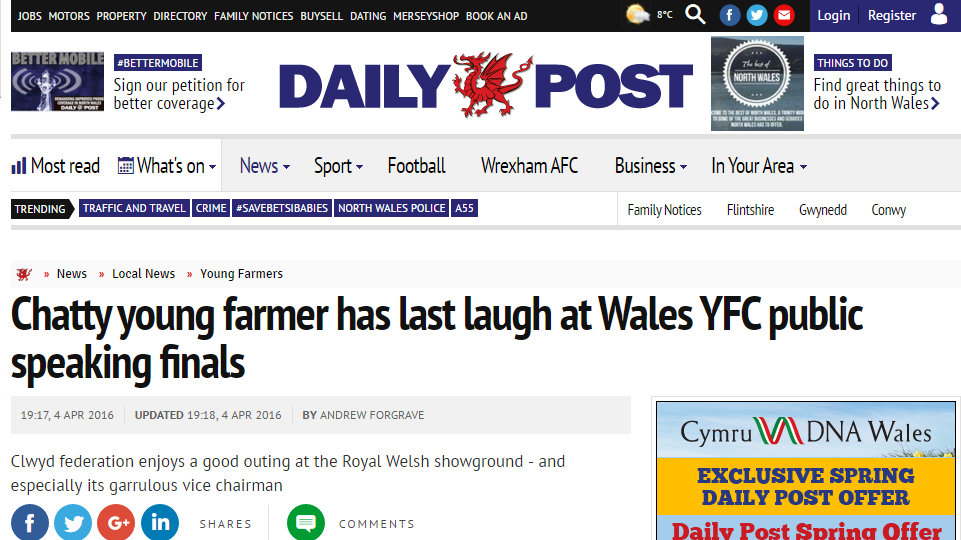 Chatty young farmer has last laugh at Wales YFC public speaking finals