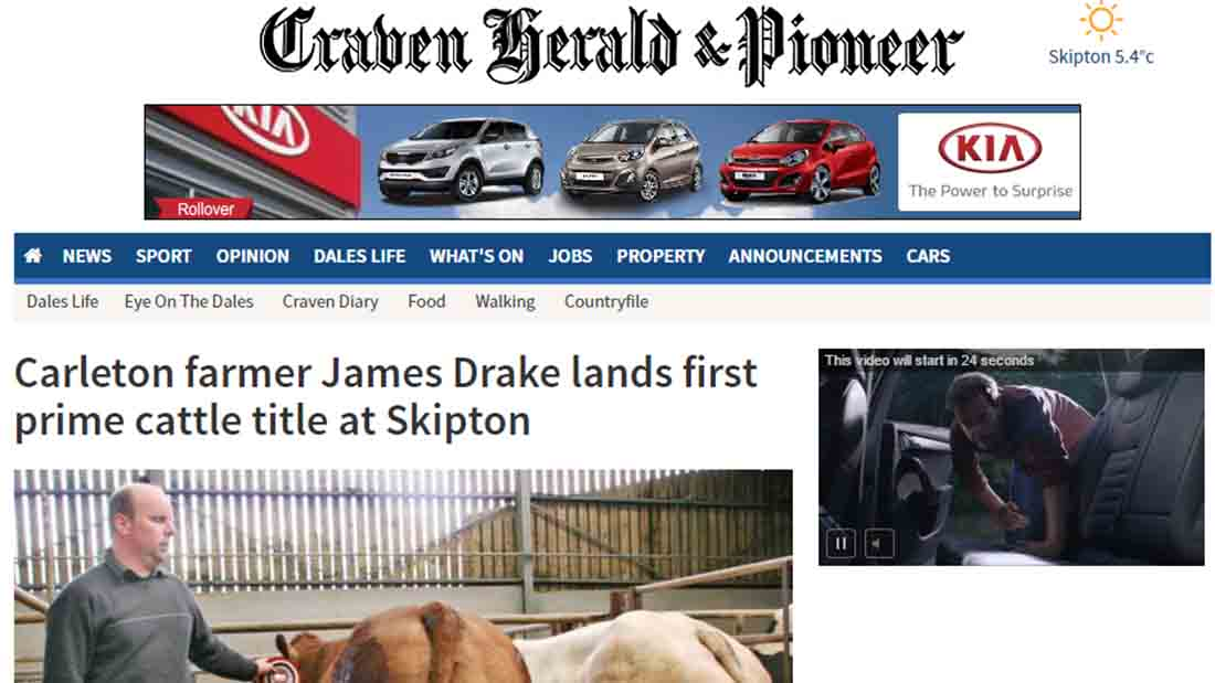 Carleton farmer James Drake lands first prime cattle title at Skipton