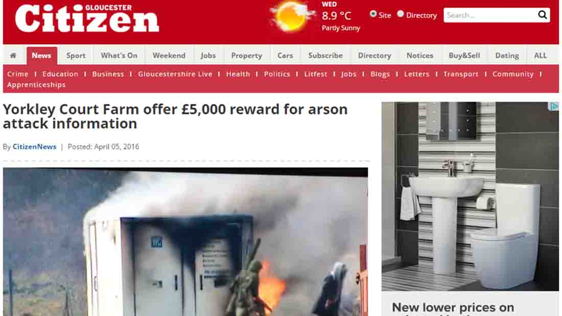 Yorkley Court Farm offer £5,000 reward for arson attack information