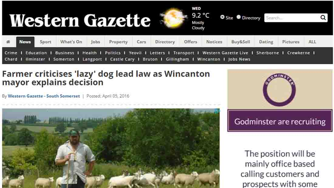 Farmer criticises 'lazy' dog lead law as Wincanton mayor explains decision