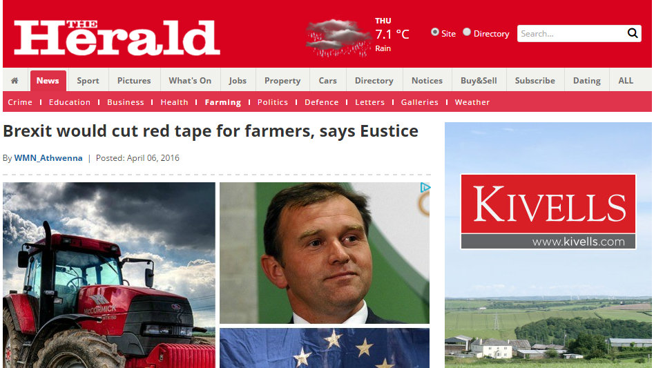 Brexit would cut red tape for farmers, says Eustice