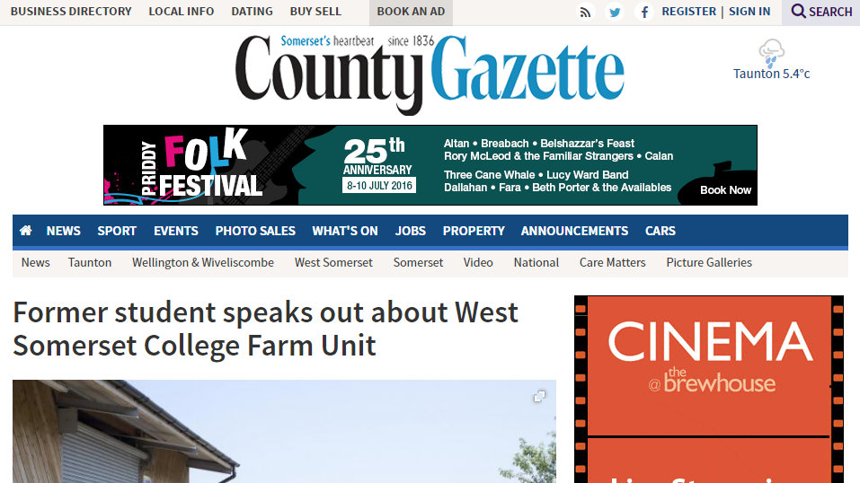 Former student speaks out about West Somerset College Farm Unit