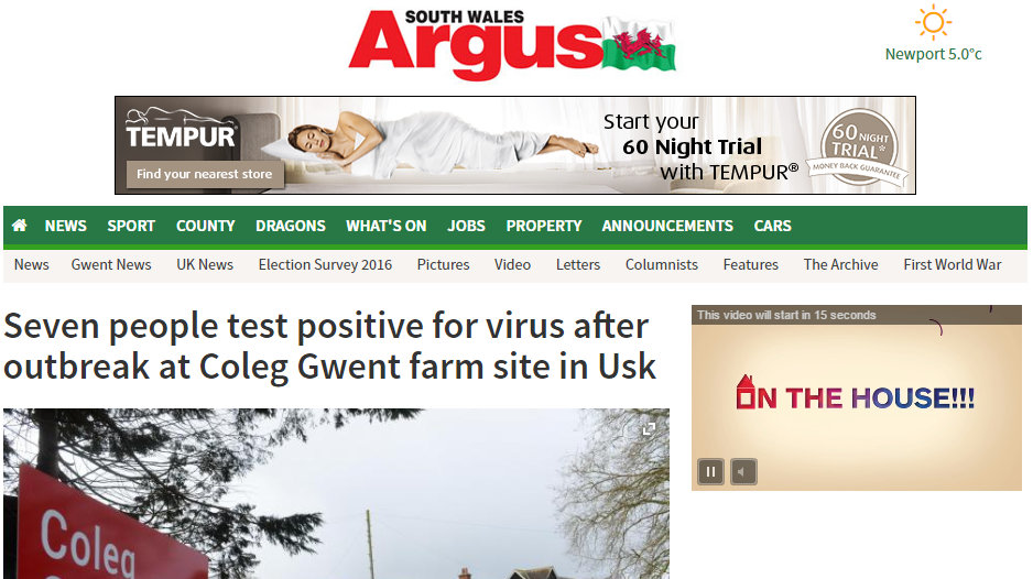 Seven people test positive for virus after outbreak at Coleg Gwent farm site in Usk