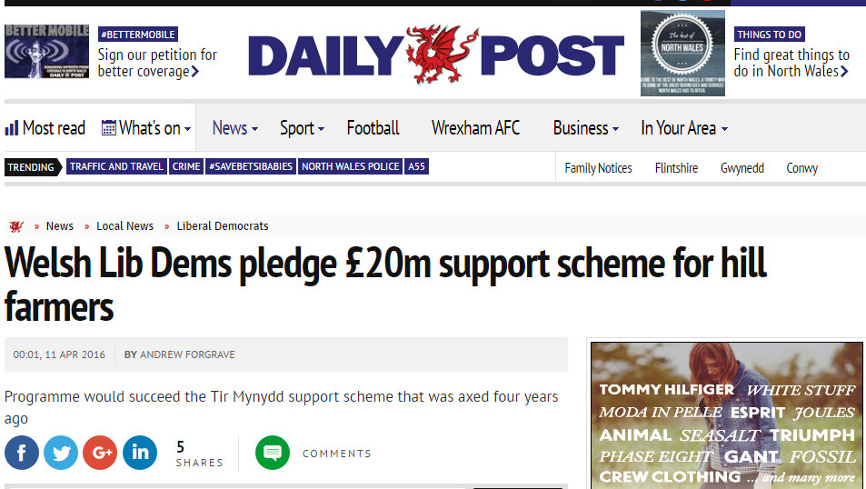 Welsh Lib Dems pledge £20m support scheme for hill farmers