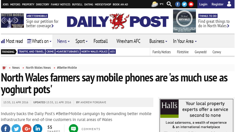 North Wales farmers say mobile phones are 'as much use as yoghurt pots'