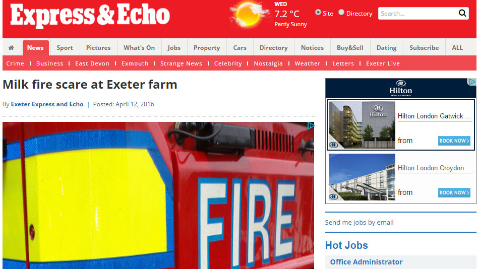 Milk fire scare at Exeter farm