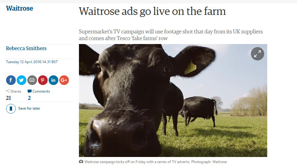 Waitrose ads go live on the farm