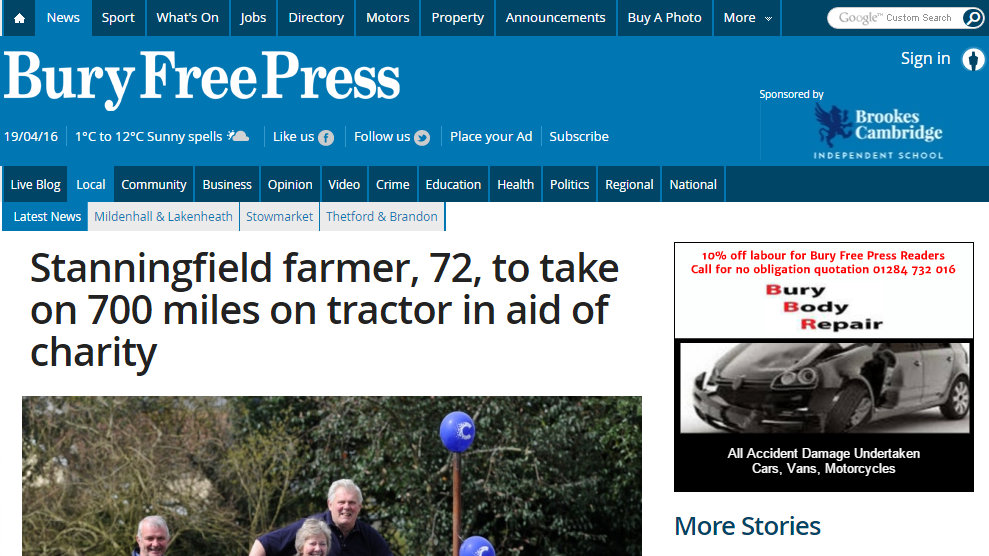 Stanningfield farmer, 72, to take on 700 miles on tractor in aid of charity