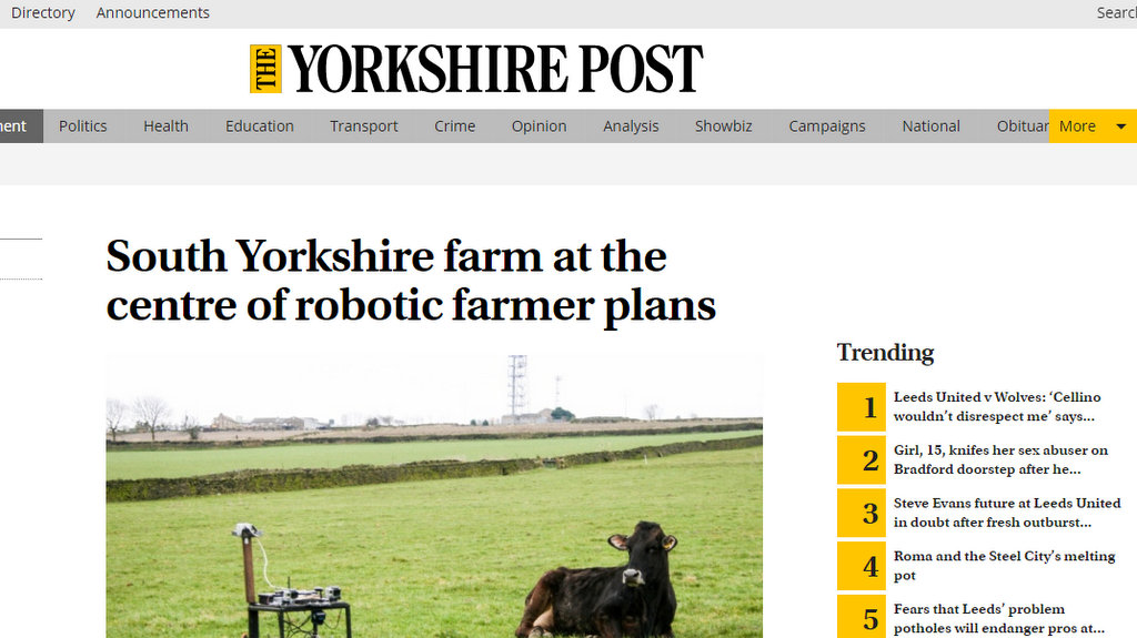 South Yorkshire farm at the centre of robotic farmer plans