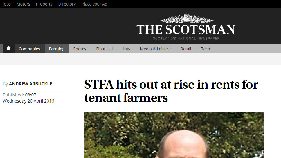 STFA hits out at rise in rents for tenant farmers