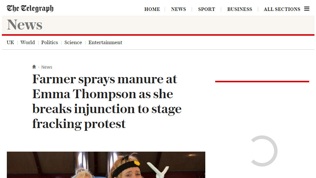 Farmer sprays manure at Emma Thompson as she breaks injunction to stage fracking protest