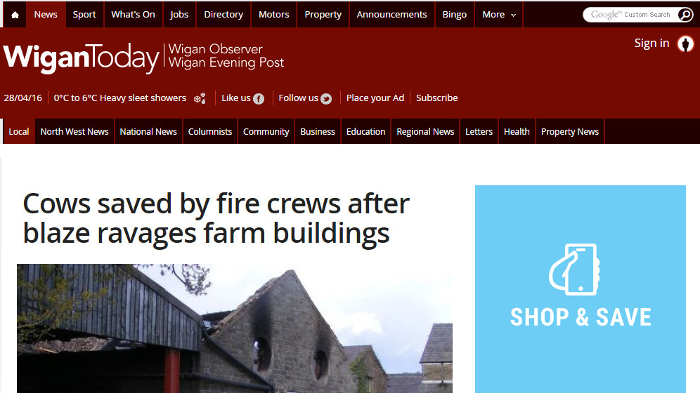 Cows saved by fire crews after blaze ravages farm buildings