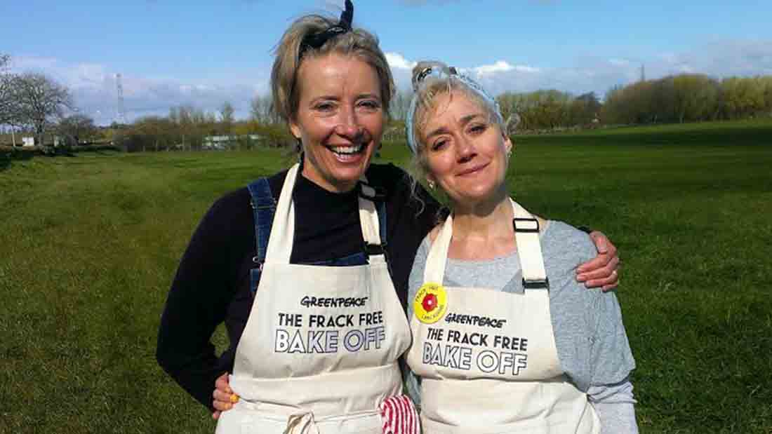 Actress Emma Thompson and sister join anti-fracking protesters in Lancashire
