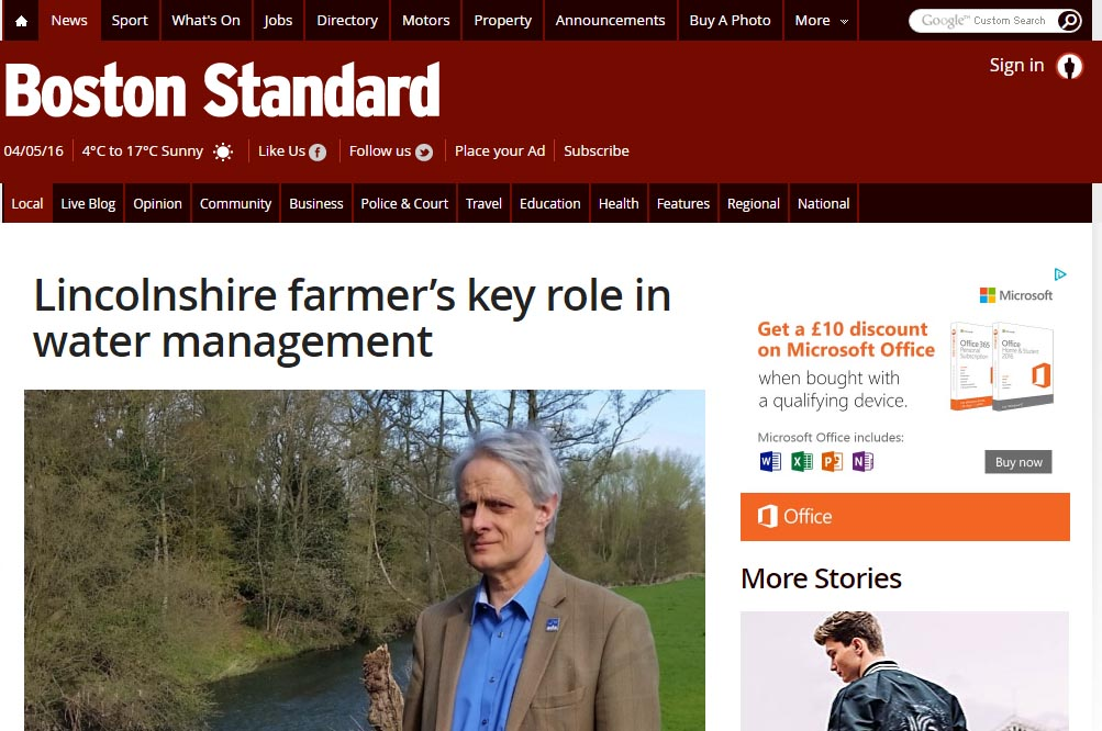 Lincolnshire farmer's key role in water management