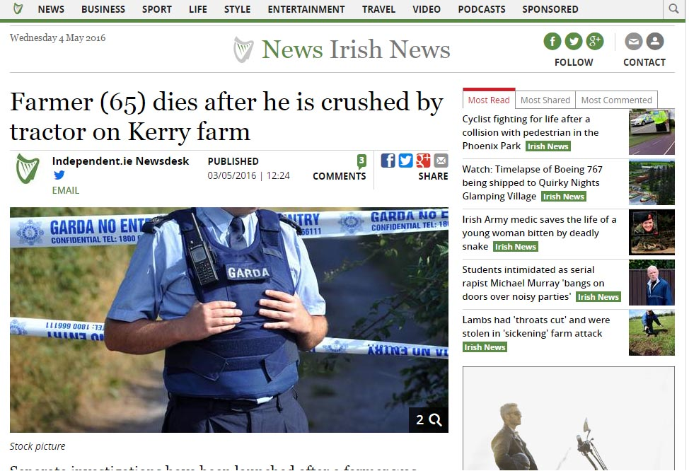 Farmer (65) dies after he is crushed by tractor on Kerry farm