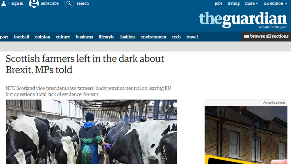 Scottish farmers left in the dark about Brexit, MPs told