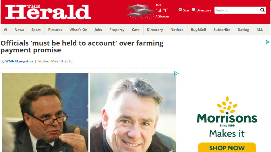 Officials 'must be held to account' over farming payment promise