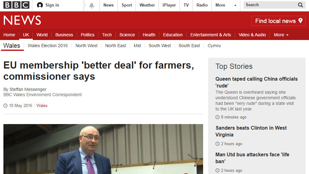EU membership 'better deal' for farmers, commissioner says