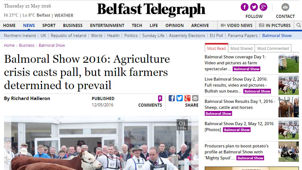 Balmoral Show 2016: Agriculture crisis casts pall, but milk farmers determined to prevail