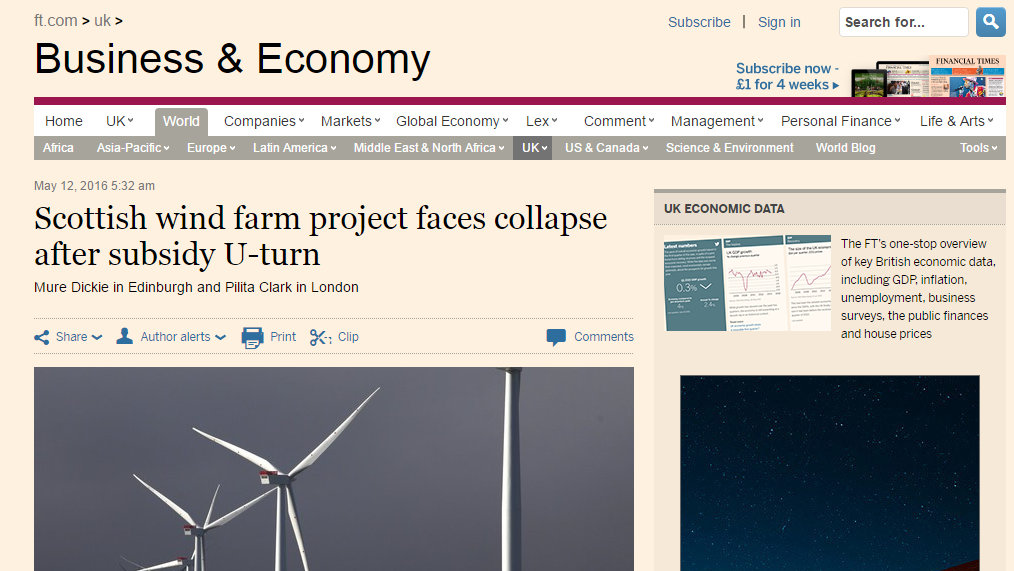 Scottish wind farm project faces collapse after subsidy U-turn