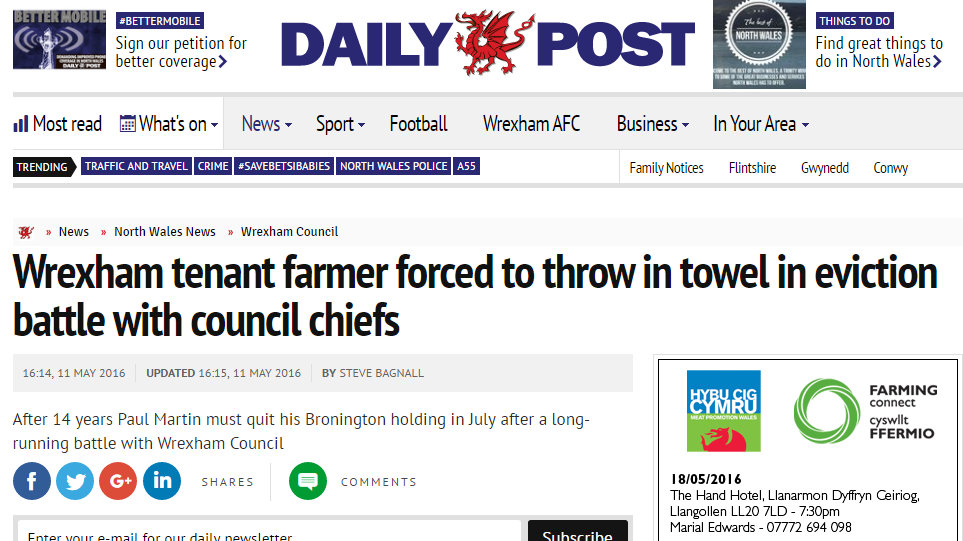 Wrexham tenant farmer forced to throw in towel in eviction battle with council chiefs