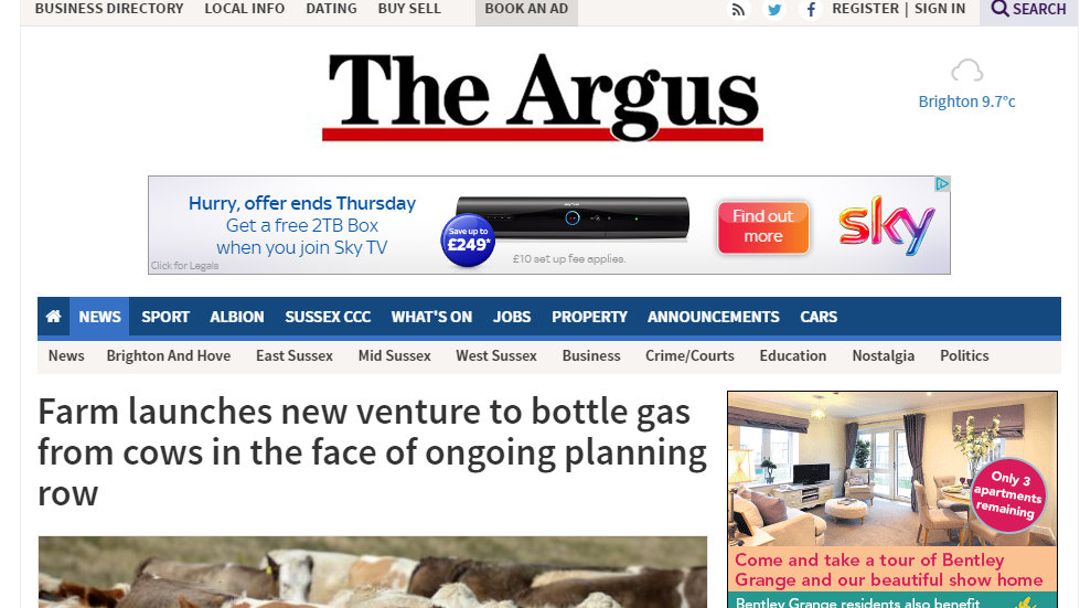 Farm launches new venture to bottle gas from cows in the face of ongoing planning row
