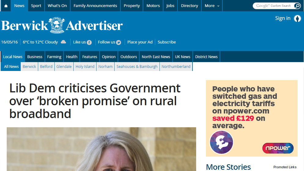 Lib Dem criticises Government over 'broken promise' on rural broadband