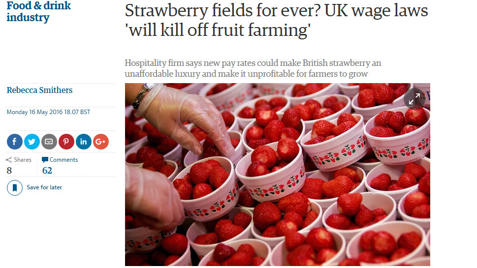 Strawberry fields for ever? UK wage laws 'will kill off fruit farming'