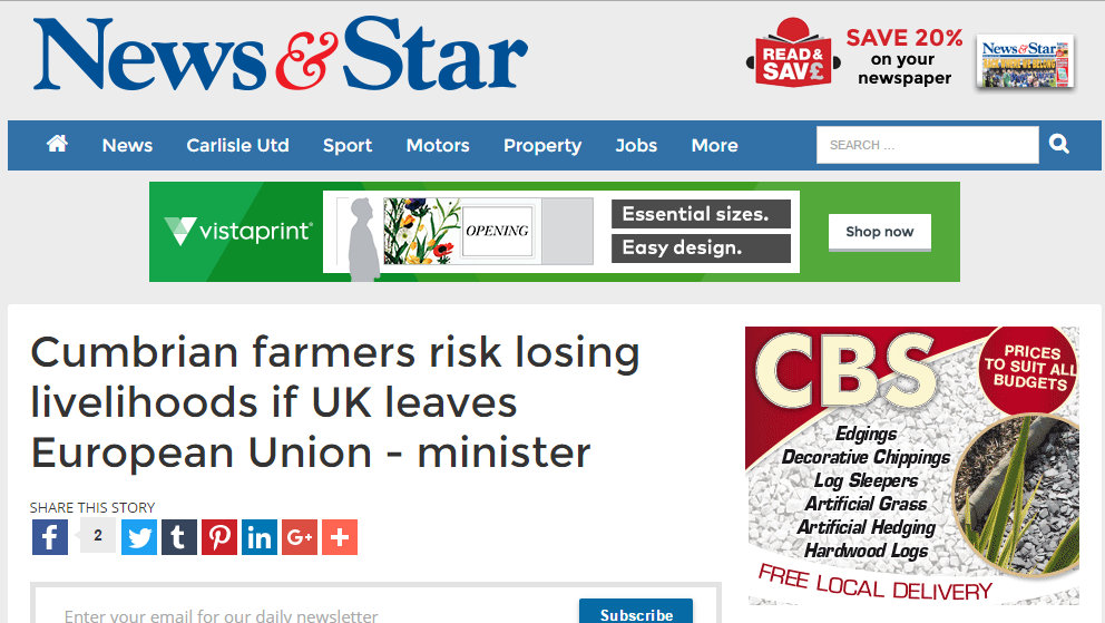 Cumbrian farmers risk losing livelihoods if UK leaves European Union - minister