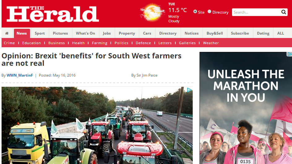 Opinion: Brexit 'benefits' for South West farmers are not real
