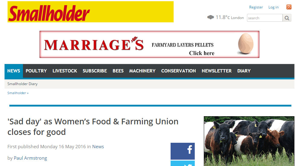 'Sad day' as Women's Food & Farming Union closes for good
