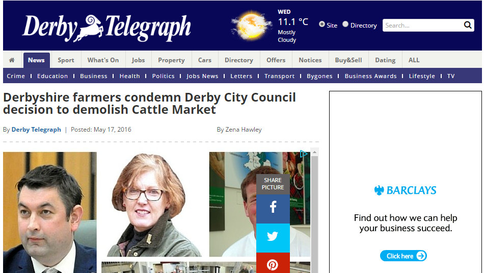 Derbyshire farmers condemn Derby City Council decision to demolish Cattle Market
