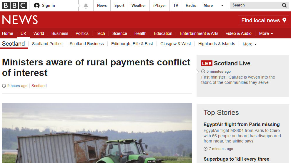 Ministers aware of rural payments conflict of interest