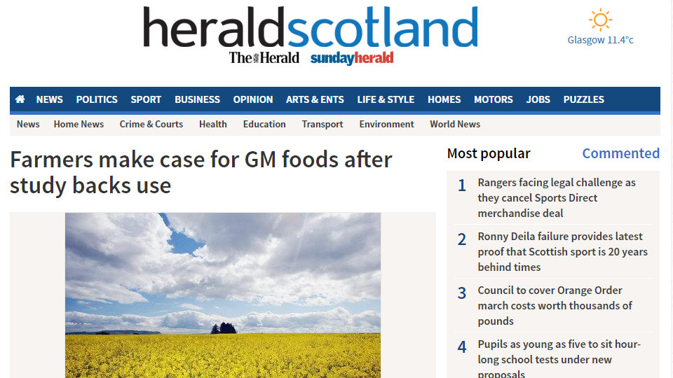 Farmers make case for GM foods after study backs use