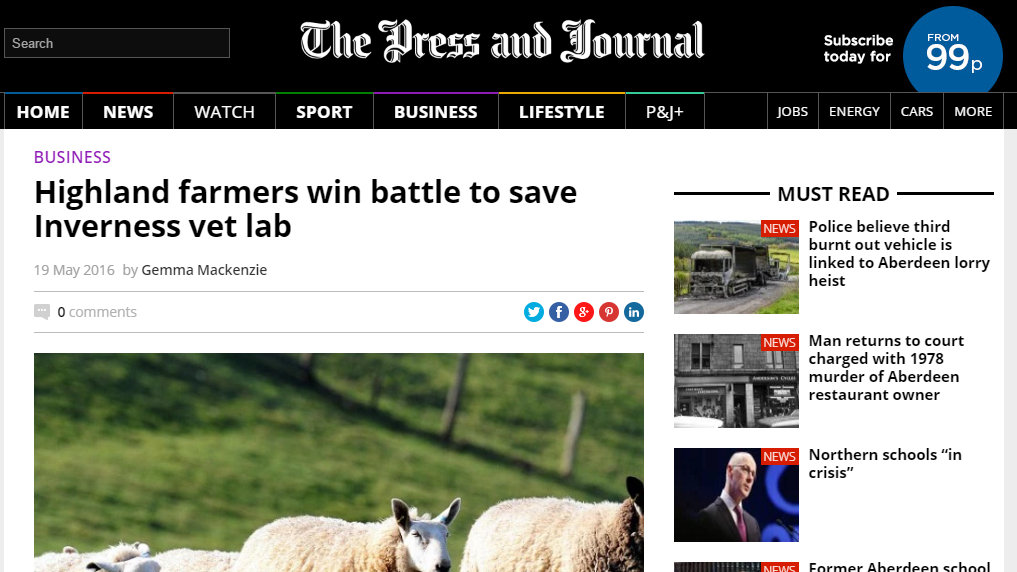 Highland farmers win battle to save Inverness vet lab