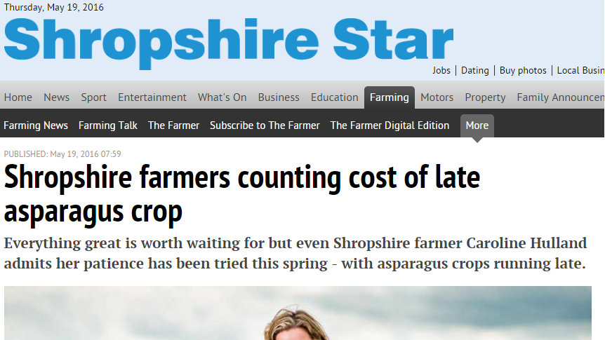Shropshire farmers counting cost of late asparagus crop