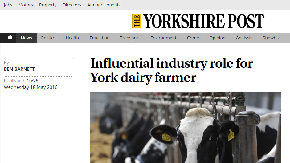 Influential industry role for York dairy farmer